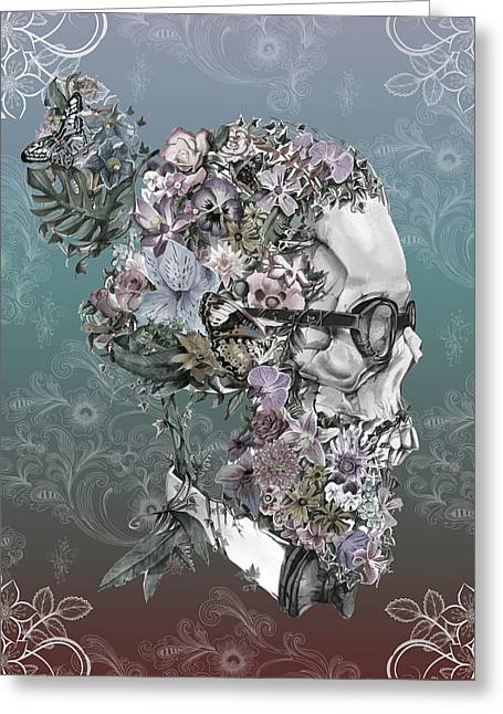 Hipster Floral Skull 2 Greeting Card by Bekim Art