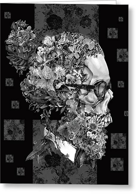 Hipster Floral Skull 3 Greeting Card by Bekim Art