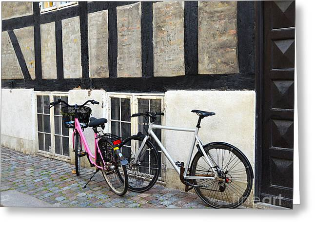 Catherine Wheel Greeting Cards - His and Hers Bicycles in Copenhagen  Greeting Card by Catherine Sherman