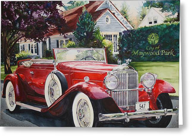 American Automobiles Paintings Greeting Cards - His and Hers Packard 1932 Greeting Card by Mike Hill