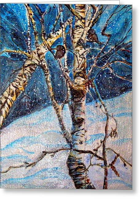 Winter Night Drawings Greeting Cards - His Eye is on the Sparrow Greeting Card by Mindy Newman