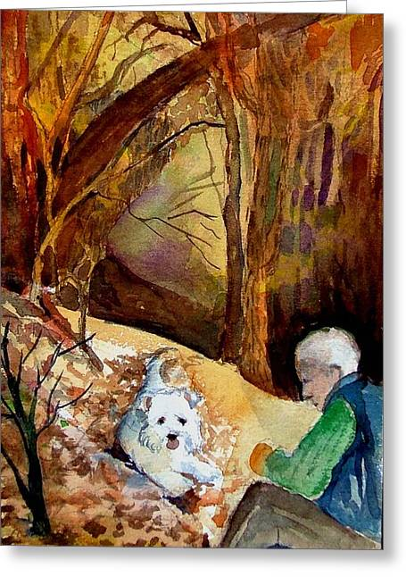 Senior Dog Greeting Cards - His Golden Years Greeting Card by Mindy Newman