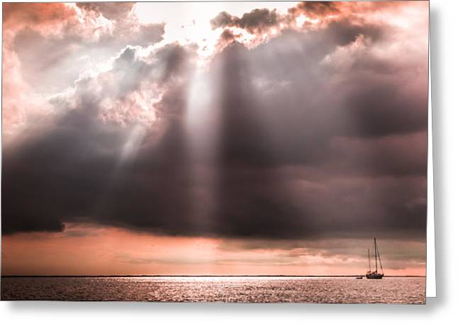 Reassurance Greeting Cards - HIS LIGHT of REASSURANCE Greeting Card by Karen Wiles