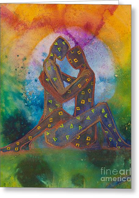 Empowerment Paintings Greeting Cards - His Loves Embrace Divine Love Series No. 1007 Greeting Card by Ilisa  Millermoon