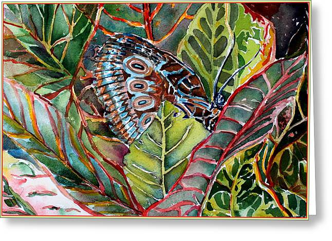 His Monarch In Green And Red Greeting Card by Mindy Newman