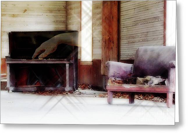 Abandoned School House. Digital Greeting Cards - His Song Greeting Card by Anita Faye