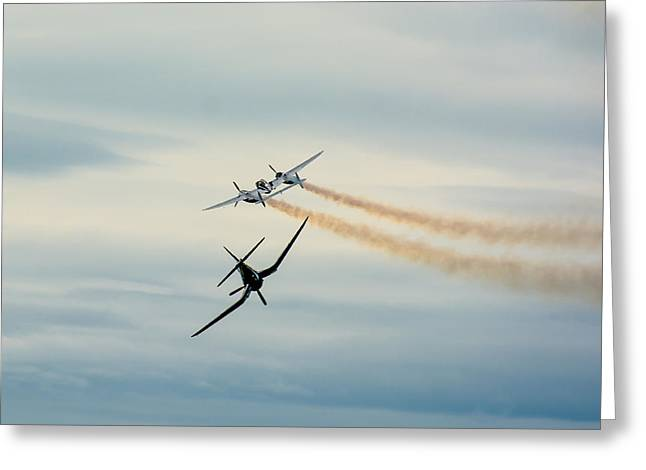 Fighters Greeting Cards - Historic Airplanes In Mid-Air Greeting Card by Andreas Berthold