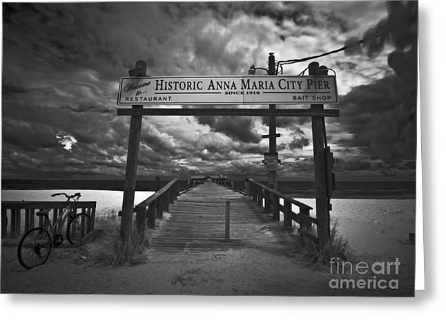 Historic City Pier Greeting Cards - Historic Anna Maria City Pier 9177436 Greeting Card by Rolf Bertram