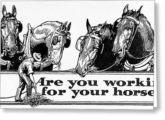 Blinders Greeting Cards - Historic  Are You Working Greeting Card by Remsberg Inc