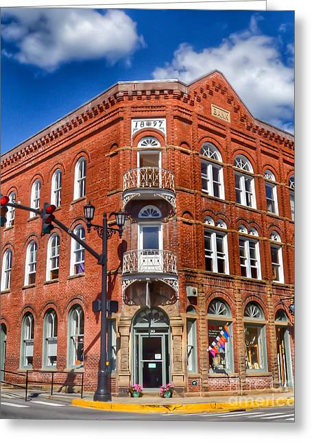 Lewisburg Greeting Cards - Historic Bank Building Lewisburg West Virginia Greeting Card by Kerri Farley