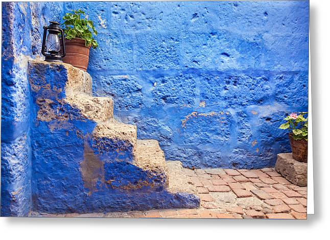 Historic Blue Stairs Greeting Card by Jess Kraft