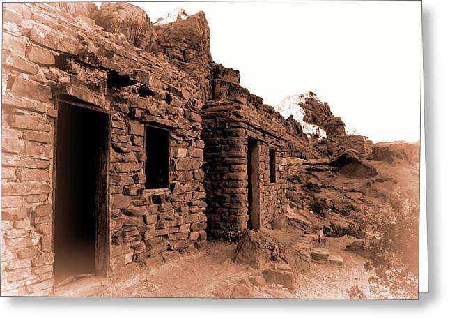 Mountain Valley Greeting Cards - Historic Cabins at Valley of Fire Greeting Card by Kristia Adams