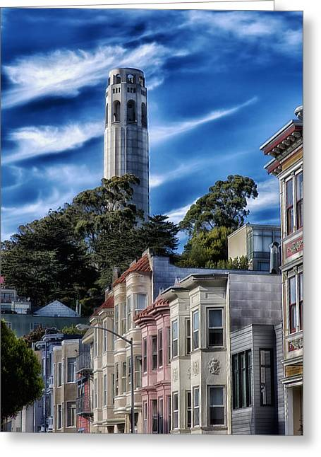 Coit Tower Greeting Cards - Historic Coit Tower Of San Francisco Greeting Card by Mountain Dreams
