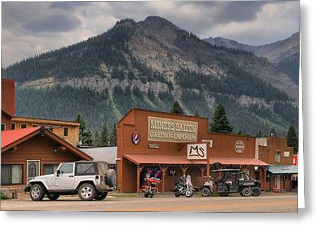 Saloons Greeting Cards - Historic Cooke City Panorama Greeting Card by Adam Jewell