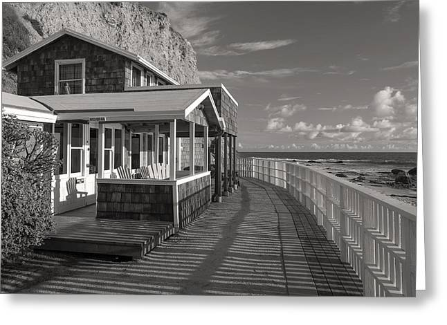 Cliffs And Houses Greeting Cards - Historic Cottage  Crystal Cove Black and White Greeting Card by Cliff Wassmann