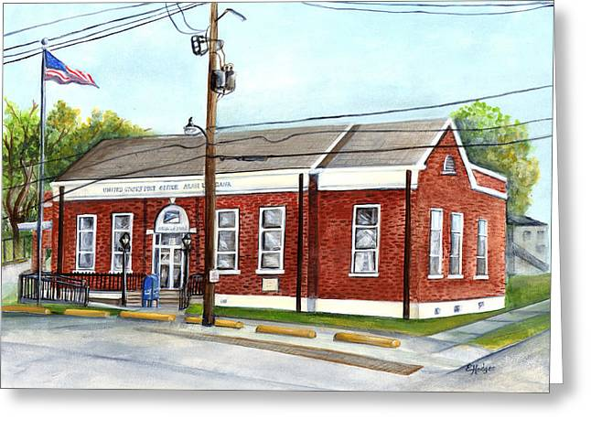 Historic District Post Office Greeting Card by Elaine Hodges