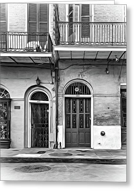 Historic Entrances - Paint Bw Greeting Card by Steve Harrington