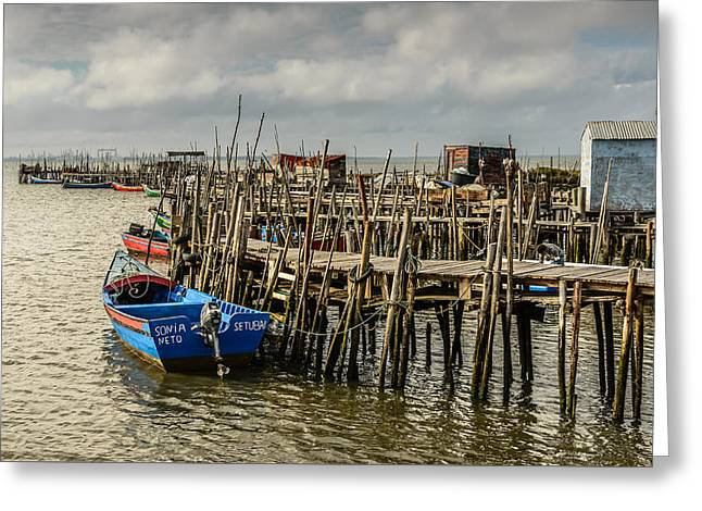 Ocean Landscape Greeting Cards - Historic Fishing Pier In Portugal II Greeting Card by Marco Oliveira