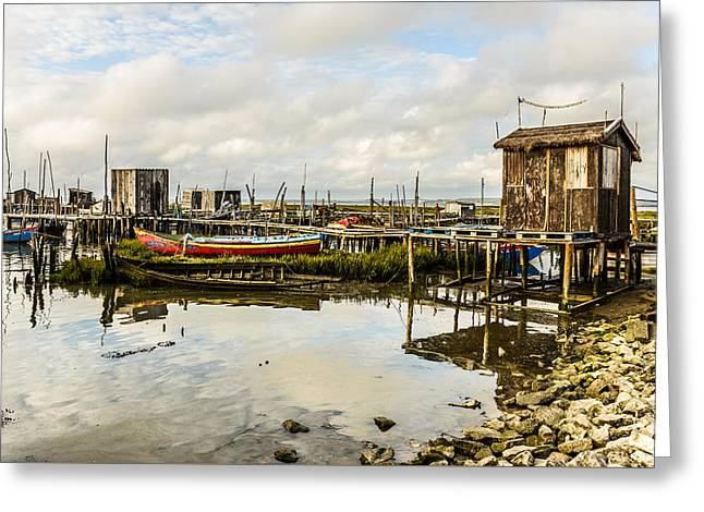 Fishing Boats Greeting Cards - Historic Fishing Pier In Portugal III Greeting Card by Marco Oliveira