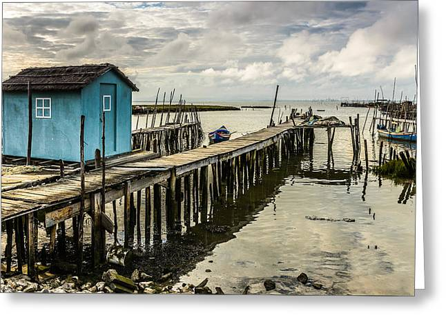 Fishing Boats Greeting Cards - Historic Fishing Pier In Portugal IV Greeting Card by Marco Oliveira