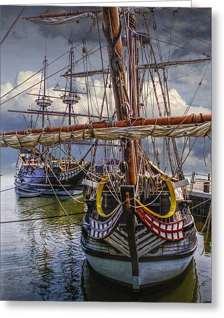 Randy Greeting Cards - Historic Jamestown Ships Greeting Card by Randall Nyhof