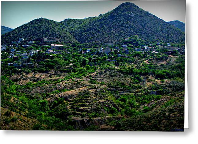 Best Sellers -  - Prescott Greeting Cards - Historic Jerome Arizona Greeting Card by Aaron Burrows