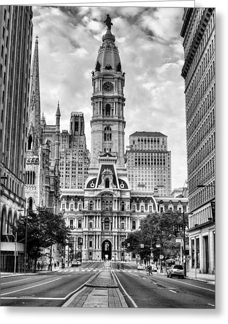 Downtown Franklin Greeting Cards - Historic Philly City Hall Greeting Card by JC Findley