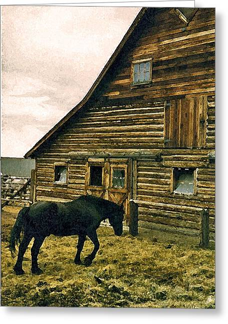 Expressionist Equine Greeting Cards - Historic Ranch Tour 1 Greeting Card by Lenore Senior and Dawn Senior-Trask