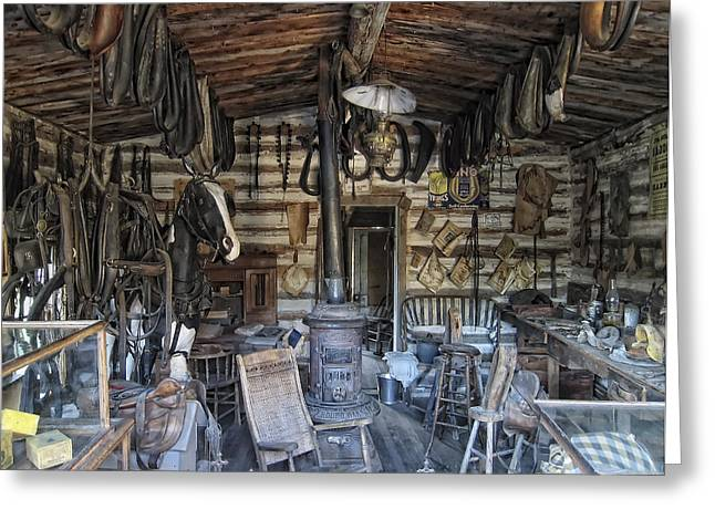 Log Cabins Greeting Cards - Historic Saddlery Shop - Montana Territory Greeting Card by Daniel Hagerman