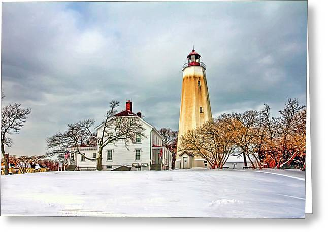 Historic Sandy Hook Lighthouse Greeting Card by Geraldine Scull