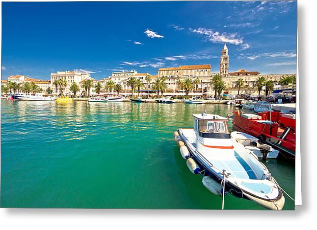 Ocean Sailing Greeting Cards - Historic Split architecture waterfront view Greeting Card by Dalibor Brlek