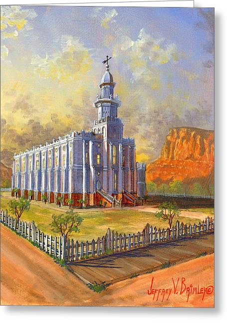 St. George Temple Greeting Cards - Historic St. George Temple Greeting Card by Jeff Brimley