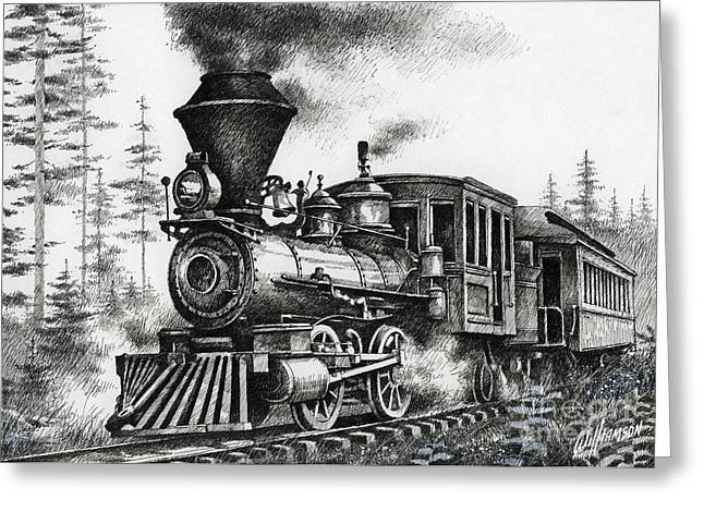 Decor Drawings Greeting Cards - Historic Steam Greeting Card by James Williamson