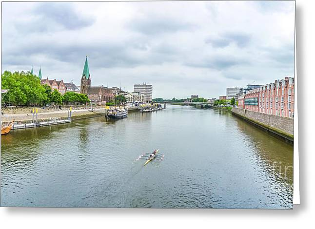 Historic Ship Greeting Cards - Historic town of Bremen and Weser river Greeting Card by JR Photography