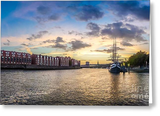 Historic Ship Greeting Cards - Historic town of Bremen with Weser river Greeting Card by JR Photography