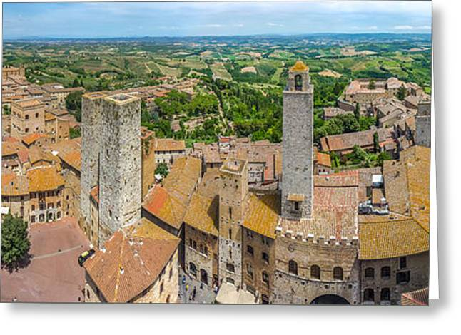 Historic Architecture Greeting Cards - Historic town of San Gimignano with tuscan countryside, Tuscany, Italy Greeting Card by JR Photography