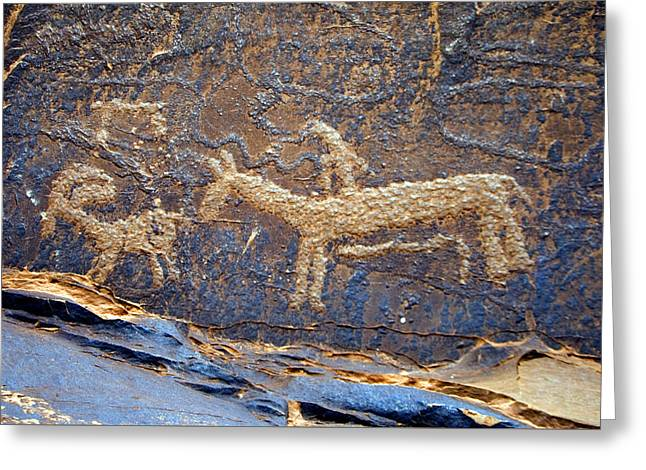 Historic Ute Pectroglyph At Courthouse Wash Greeting Card by Ron Brown Photography