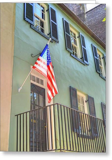 Patriotic Savannah Greeting Cards - Historical Patriot Greeting Card by Linda Covino