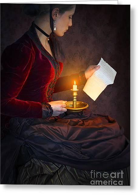 Satin Skirt Greeting Cards - Historical Victorian Woman Reading A Letter By Candlelight Greeting Card by Lee Avison