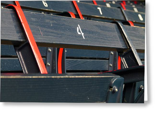 Red Sox World Series Greeting Cards - Historical Wood Seating at Boston Fenway Park Greeting Card by Juergen Roth