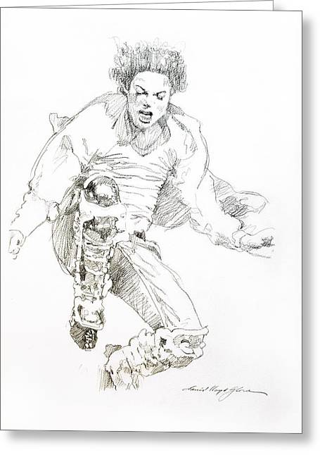 Legend Drawings Greeting Cards - HiStory Concert - Michael Jackson Greeting Card by David Lloyd Glover