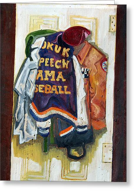 Baseball Uniform Paintings Greeting Cards - History Greeting Card by Jame Hayes