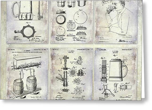 History Of Beer Patents Greeting Card by Jon Neidert