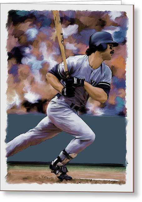 Hit Man  Don Mattingly  Greeting Card by Iconic Images Art Gallery David Pucciarelli