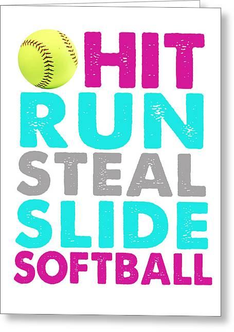 Hit, Run, Steal, Slide, Softball Greeting Card by Crista Dearinger