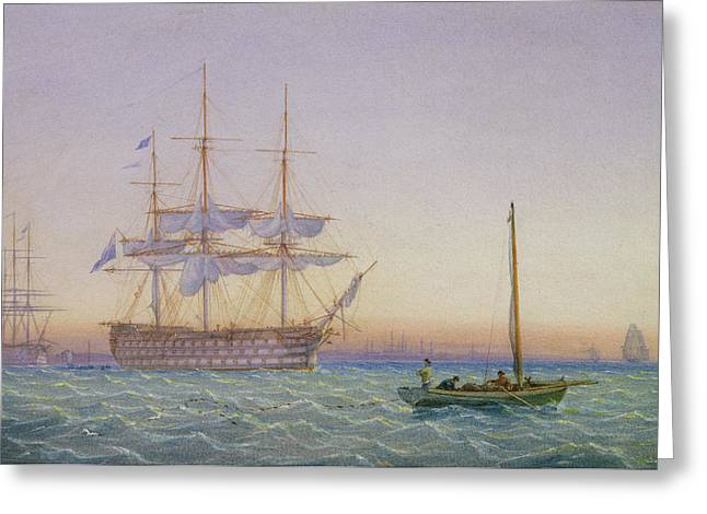 Frigates Paintings Greeting Cards - HM Frigates at Anchor Greeting Card by John Joy