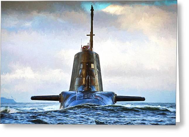 Hms Ambush Submarine 2 Greeting Card by Roy Pedersen