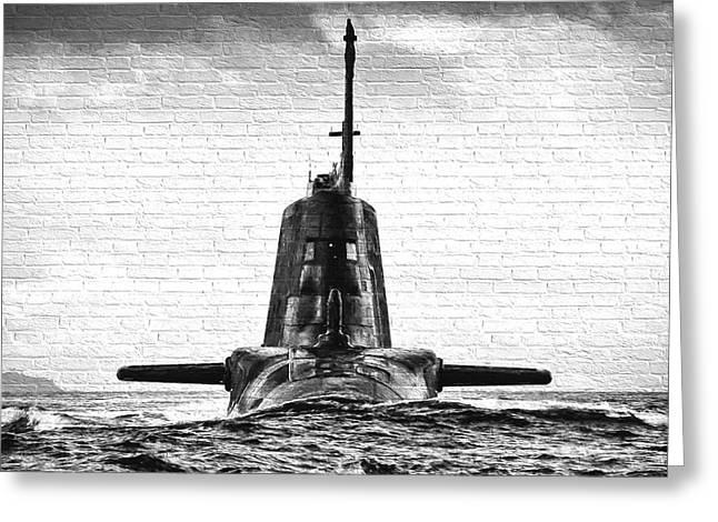 Hms Ambush Submarine Gaffiti Greeting Card by Roy Pedersen