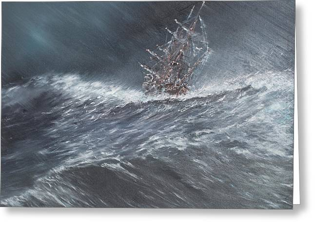 Sailboat Art Greeting Cards - HMS Beagle in a storm off Cape Horn Greeting Card by Vincent Alexander Booth