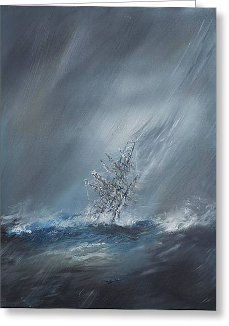Beagle Paintings Greeting Cards - HMS Beagle in Storm off Cape Horn Greeting Card by Vincent Alexander Booth
